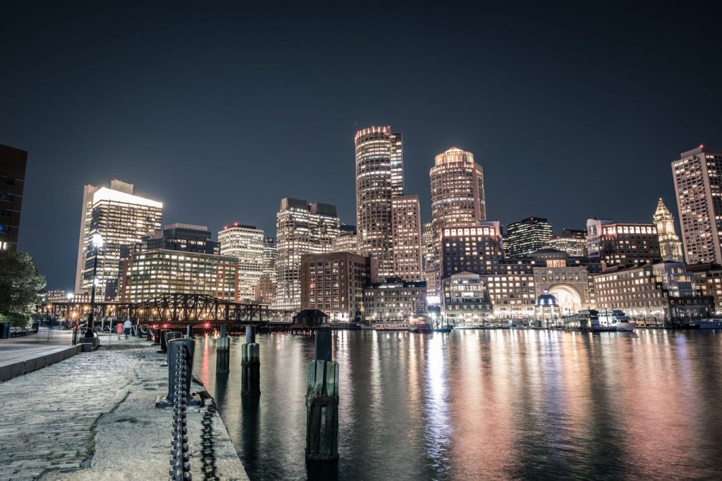 Image of Boston waterfront at night